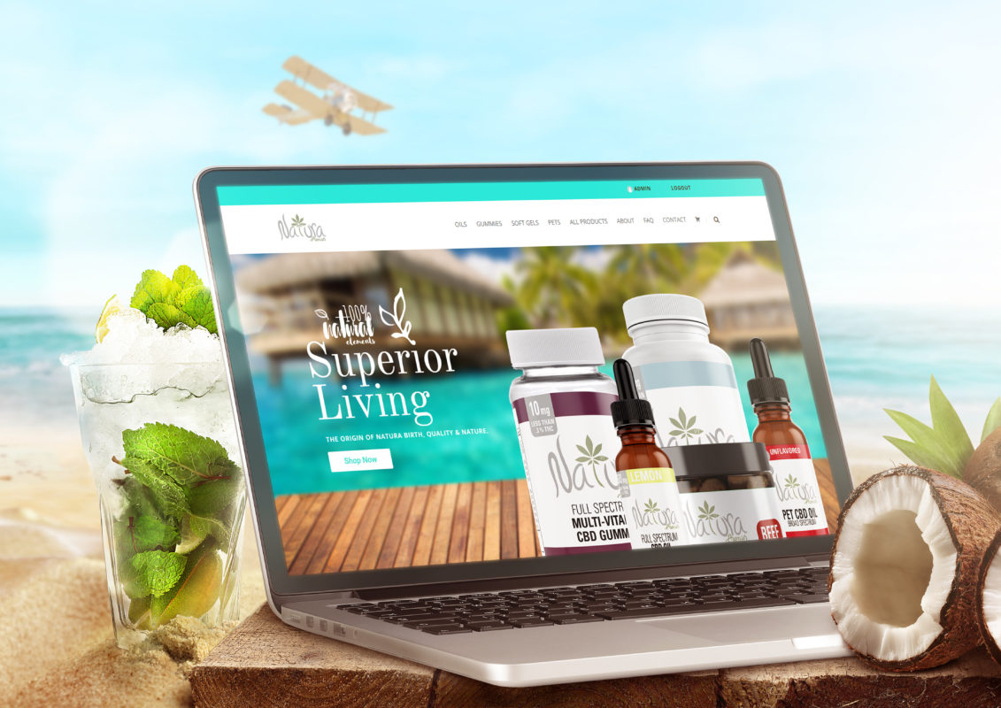 Laptop on beach looking at Natura Premier CBD products, CBD Oil, CBD Gummies and CBD Pet Nutrition website.