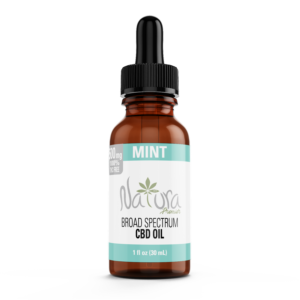 Bottle of Natura Premier Broad Spectrum CBD oil in mint flavor.