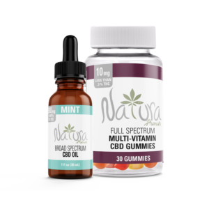 Natura Premier Broad Spectrum CBD Oil bundled with CBD Multi-Vitamin Gummies